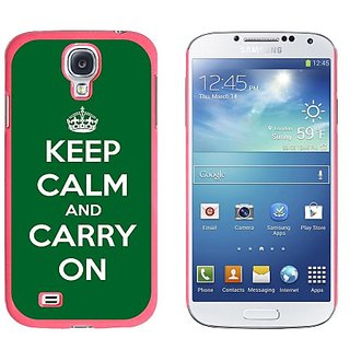Graphics and More Keep Calm and Carry On Green Snap-On Hard Protective Case for Samsung Galaxy S4 - Non-Retail Packaging