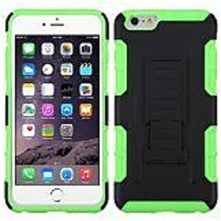 MyBat Car Armor Stand Protector Cover Rubberized for iPhone 6 Plus - Retail Packaging - Black/Electric Green