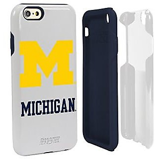 NCAA Michigan Wolverines Hybrid Case for iPhone 6, White, One 6