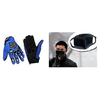 Combo Full Knighthood Gloves Blue + Anti pollution face mask