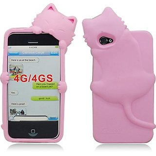 Aimo IPHONE4GSKCAT004 Unique Cat Skon Protective Case for iPhone 4 - 1 Pack - Retail Packaging - Pink