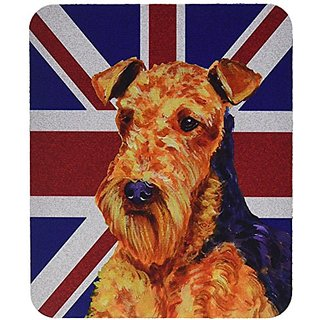 Carolines Treasures Airedale with English Union Jack British Flag Mouse Pad/Hot Pad/Trivet (LH9488MP)