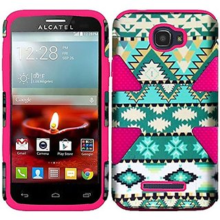 HR Wireless Dynamic Slim Hybrid Case for Alcatel One Touch Fierce 2 7040T - Retail Packaging - Mint Green Aztec/Hot Pink