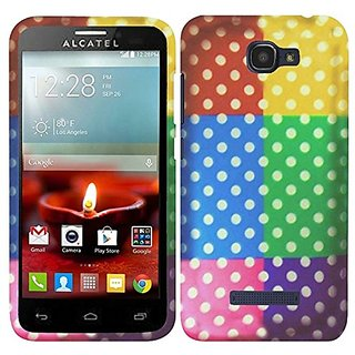 HR Wireless Alcatel One Touch Fierce 2 7040T Rubberized Design Cover - Retail Packaging - Colorful Polka