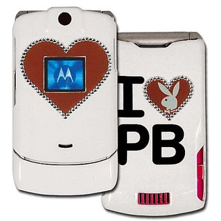 Licensed White Playboy Snap-On for V3 with Glittered Red Heart Bunny Outlined in Rhinestones and Red Heart in the Front