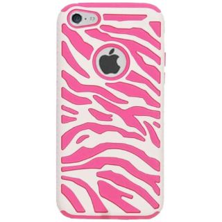 Cell Armor Hybrid Novelty Case for Apple iPhone 5C - Retail Packaging - Pink Zebra on White