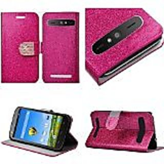 HR Wireless ZTE WARP SYNC N9515 Shiny PU Leather Bling Flip Wallet Credit Card Cover Case - Retail Packaging - Hot Pink