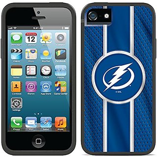 Coveroo Switchback Case for iPhone 5/5s - Retail Packaging - Black/Tampa Bay Lightning Jersey Stripe Design