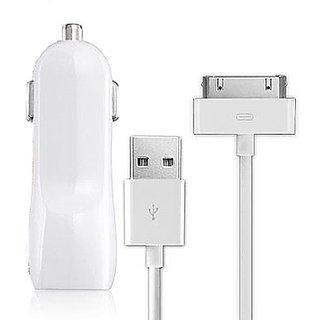 Dausen TR-RI863WT Car Charging Kit for iPhone/iPad - Retail Packaging - White