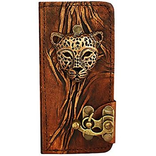 Leopard Face Pendant iPhone 5 5S Case Handmade Vintage Style Real Genuine Leather Cover Wallet Hardcover Side Flip Case