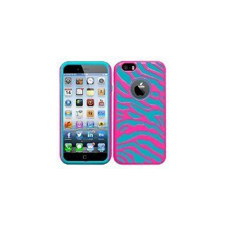 HR Wireless Zebra Hybrid Cover for Apple iPhone 6 - Retail Packaging - Hot Pink/Sky Blue Silicone