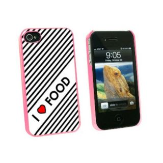 Graphics and More I Love Heart Food Snap-On Hard Protective Case for Apple iPhone 4/4S - Non-Retail Packaging - Pink