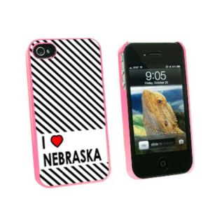 Graphics and More I Love Heart Nebraska Snap-On Hard Protective Case for Apple iPhone 4/4S - Non-Retail Packaging - Pink