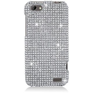 Eagle Cell PDHTCONEVF377 RingBling Brilliant Diamond Case for HTC One V - Retail Packaging - Silver