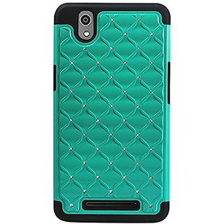 Reiko ZTE ZMAX Z970 Premium Hybrid PC and Silicone Double Protection Diamond Bling Case Cover - Retail Packaging - Black