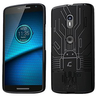 Cruzerlite Bugdroid Circuit Case Compatible for Motorola Droid Maxx 2 - Retail Packaging - Black