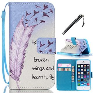 iPhone 5s Case, iPhone 5 Case, UrSpeedtekLive Feather Pattern Premium PU Leather Flip Wristlet Wallet Case Cover for App