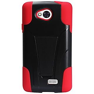 Reiko Silicon Protector Cover with Kickstand for LG Tribute LS660, LG F60 D390N - Retail Packaging - Red/Black