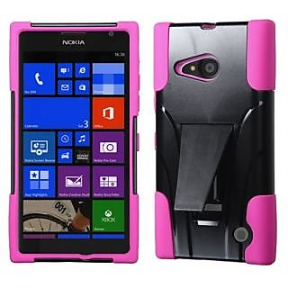 MyBat Asmyna Nokia Lumia 735 Inverse Advanced Armor Stand Protector Cover - Retail Packaging - Hot Pink