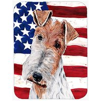 Carolines Treasures Wire Fox Terrier With American Flag USA Mouse Pad/Hot Pad/Trivet (SC9628MP)