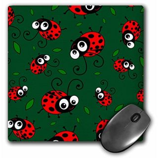 3Drose LLC 8 X 8 X 0.25 Inches Mouse Pad, Cute Red Ladybug and Leaf Pattern on Dark Green, Cartoon Ladybugs Ladybirds, K