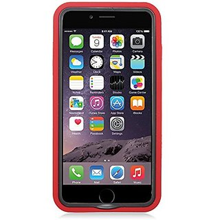 Eagle Cell Spot Diamond Hybrid Armor Protective Case with Stand for Apple iPhone 6 Plus - Retail Packaging - Black/Red