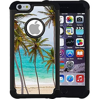 CorpCase iPhone 6 Plus Case / iPhone 6S Plus 5.5 Inch Case - Tropical palm tree on beach / Hybrid Unique Case With Great