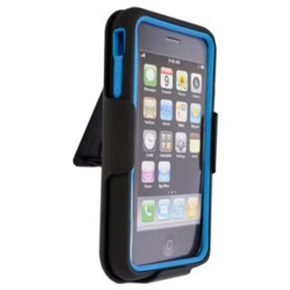 DECORO DEHCIP4LBBK Element Hybrid Case with Holster for Apple iPhone 4S - 1 Pack - Retail Packaging - Blue/Black