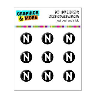Graphics and More Letter N Initial Black And White Home Button Stickers Fits Apple iPhone 4/4S/5/5C/5S, iPad, iPod Touch