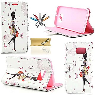 S6 Case, Galaxy S6 Case,Dteck(TM) Stylish Portable 3D Bling Diamond Lovely Girl Pattern Premium PU Leather Flip Stand Ma
