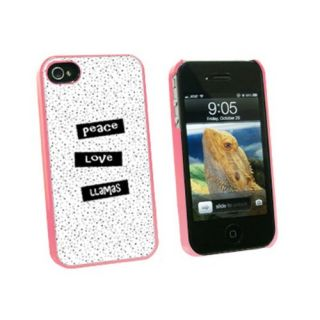 Graphics and More Peace Love Llamas - Snap On Hard Protective Case for Apple iPhone 4 4S - Pink - Carrying Case - Non-Re