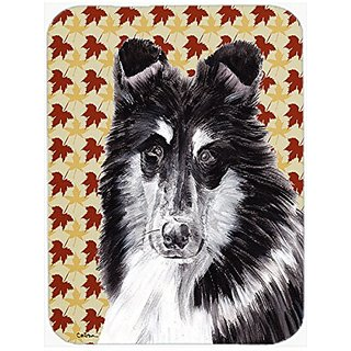 Carolines Treasures Black & White Collie Fall Leaves Mouse Pad/Hot Pad/Trivet (SC9678MP)