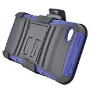 Eagle Cell PRIPHONE4SPSTHLBLBK Hybrid Rugged TUFFSUIT with Kickstand for iPhone 4 - Retail Packaging - Blue/Black