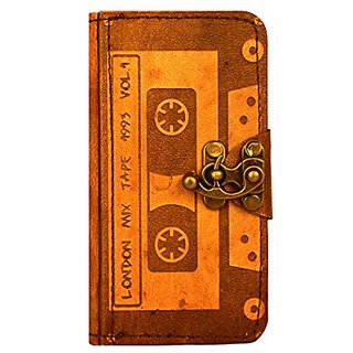 Cassette Tape Decoration iPhone 6 Case Handmade Vintage Style Real Genuine Leather Cover Wallet Hardcover Side Flip Case