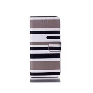 Colorful Stripes Leather Wallet Cellphone Carrying Case Wallet Style Stand Cover Case Protector Fit For Apple iPhone 6 (