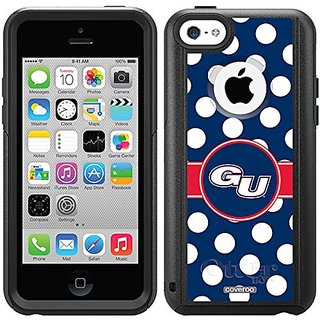 Coveroo Commuter Series Black Cell Phone Case for iPhone 5c - Retail Packaging - Gonzaga University Polka Dots