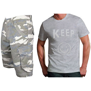 Cargo Shorts For Mens- Free Size Fits 28 To 34 Inches & Printed Tshirt