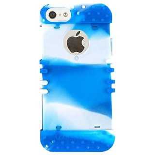 Cell Armor Rocker Silicone Skin Case for iPhone 5 - Retail Packaging - Light Blue with White Mixture