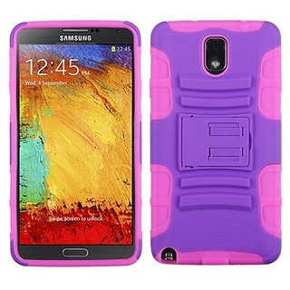 MyBat ASMYNA Advanced Armor Stand Protector Cover for Samsung N900A Galaxy Note 3 - Retail Packaging - Purple/Pink
