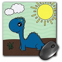 3dRose LLC 8 X 8 X 0.25 Inches Cute Baby Blue Dinosaur Scene Mouse Pad (mp_13797_1)