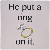 3dRose LLC 8 X 8 X 0.25 Inches Mouse Pad, He Put A Ring On It Engagement Ring Wedding Bride To Be (mp_123087_1)