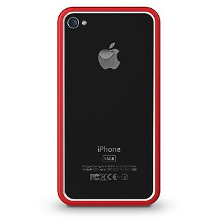 Xtrememac IPP-BO5-73 Thin Border with tuffshield - Red for iPhone 4/4S