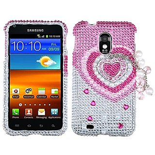 MyBat 3D Diamante Protector Cover for Samsung D710 - Retail Packaging - Pink Heart Chain Premium