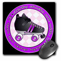 3dRose Derby Chicks Roll With It Purple And Black With Black Roller Skate Mouse Pad (mp_28510_1)