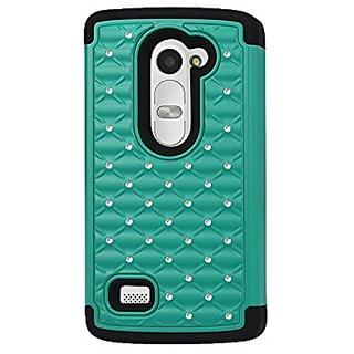 Reiko Diamond Hybrid Protector Cover for LG LEON/H326T - Retail Packaging - Black/GR