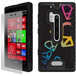 Beyond Cell Duo-Shield Hard Shell and Silicone Skin Case with Free Screen Protector for Nokia Lumia N928 - Retail Packag