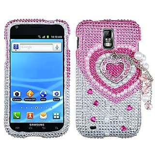MyBat 3D Diamante Protector Cover for Samsung T989 - Retail Packaging - Pink Heart Chain Premium