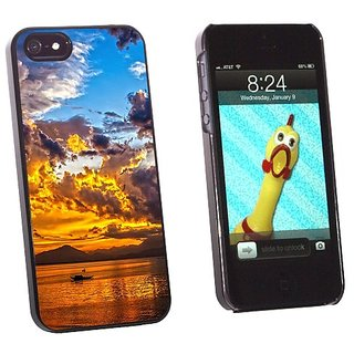 Graphics and More Boat Silhouette Sunset Da Nang Bay Vietnam - Snap-On Hard Protective Case for Apple iPhone 5/5s - Non