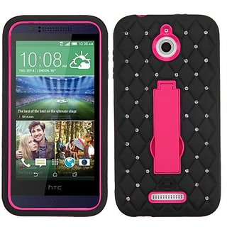 MyBat Asmyna HTC Desire 510 Symbiosis Stand Protector Cover with Diamonds - Retail Packaging - Hot Pink/Black
