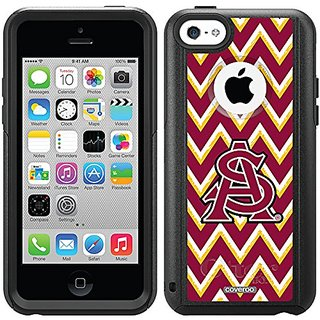 Coveroo Commuter Series Black Cell Phone Case for iPhone 5c - Retail Packaging - Arizona State Sketchy Chevron